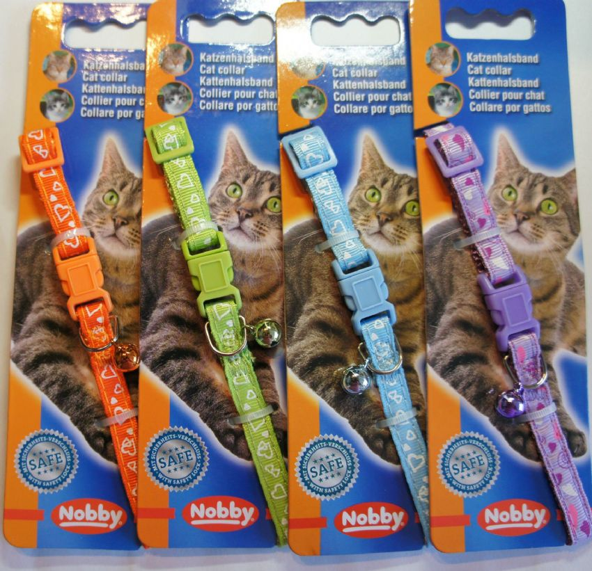 DESIGNER SAFETY CAT COLLARS BRIGHT COLOURS HEART DESIGN BELLS & ENGRAVED ID TAG